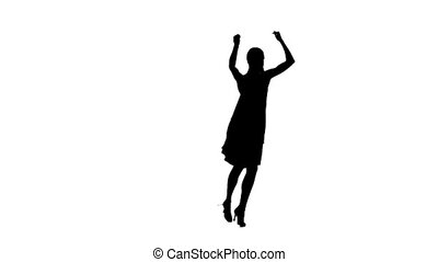 Silhouette of woman performing ballroom dance. White background, slow motion