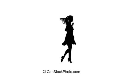 Silhouette of woman performing rumba dance. White background, slow motion