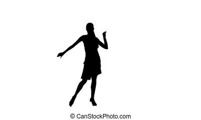 Silhouette of woman performing samba dance. White background, slow motion