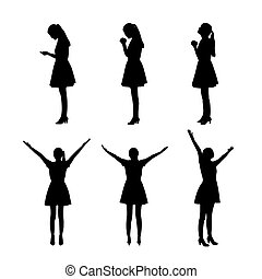 silhouette of woman pray something - silhouette of woman...