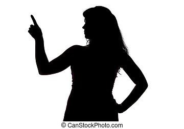 Silhouette of woman showing up, right side on white ...