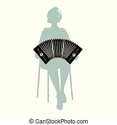 Silhouette of woman sitting on a chair playing the bandoneon
