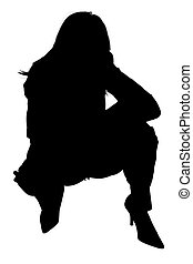 Silhouette of Woman Squatting - Silhouette over white of...