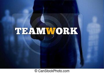 Silhouette of woman touching teamwork button