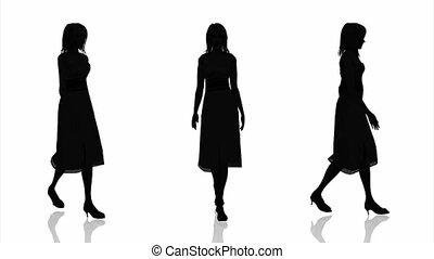 silhouette of woman - walking woman's silhouette