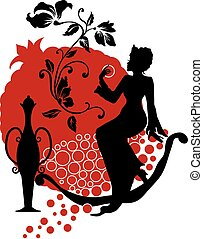 Silhouette of woman with a pomegranate