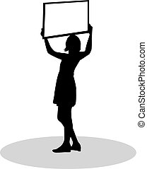 Silhouette of woman with billboard in hand.