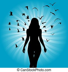 Silhouette of woman with birds flying around her on sunburst background.eps