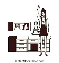 silhouette of woman with bookshelf of wooden and books