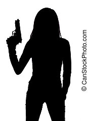 Silhouette of woman with handgun on white background