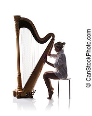 Silhouette of woman with harp - Silhouette of woman playing ...