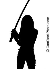 Silhouette of woman with samurai sword
