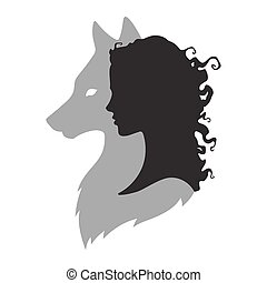 Silhouette of woman with shadow of wolf - Silhouette of...