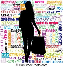 Silhouette of woman with shopping bags on promotional messages background .eps
