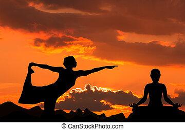 Silhouette of Woman  Yoga