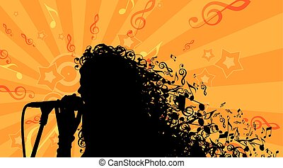Silhouette of Womans head with Music Hair Background. Stock...
