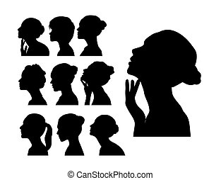Silhouette of Woman's Profile with Curly Hair