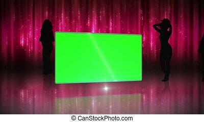 Silhouette of women dancing with sc - Animation with...