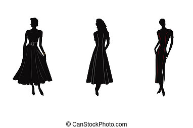 silhouette of women in gowns