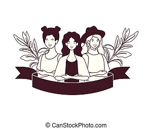 silhouette of women with garland and ribbon