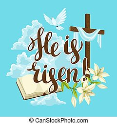 Silhouette of wooden cross with bible, lily and dove. Happy Easter concept illustration or greeting card. Religious symbols of faith against clouds