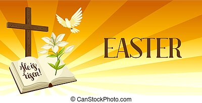 Silhouette of wooden cross with bible, lily and dove. Happy Easter concept illustration or greeting card. Religious symbols of faith against sunrise sky