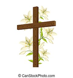 Silhouette of wooden cross with lilies. Happy Easter concept...