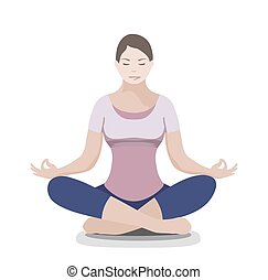 Silhouette of yoga woman. Padmasana - Lotus pose