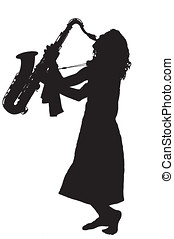 Silhouette of young barefoot woman playing saxophone