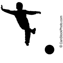 Silhouette of young boy playing foo