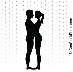 silhouette of young couple standing in the rain -...