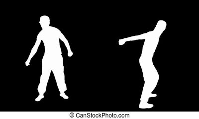 Silhouette of young man breakdance