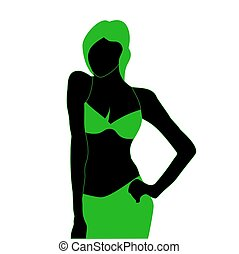 Silhouette of young model girl in beach green dress.