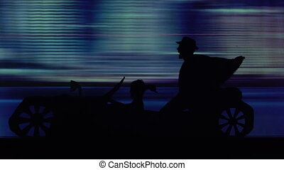 silhouette of young people who ride in the car with a folding roof for disco party
