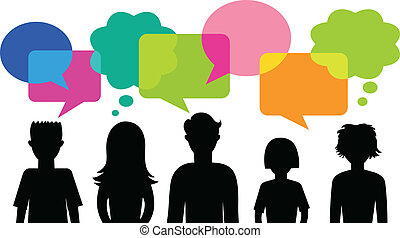 silhouette of young people with speech bubbles - many ...