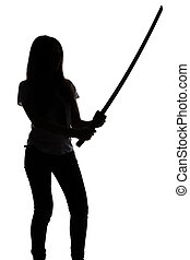 Silhouette of young woman with sword on white background