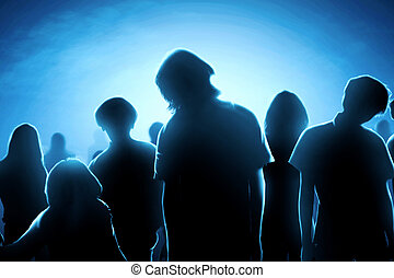 Silhouette of zombies crowds at night
