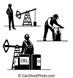 Silhouette oilman background in infrastructure - Vector...