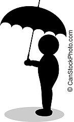 silhouette, ombrello, illustrazione
