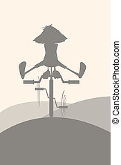Silhouette on a bicycle