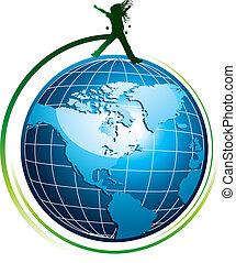 Silhouette on globe icon