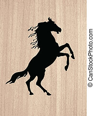 silhouette on wood background