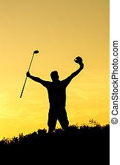 silhouette, ondergaande zon , golf