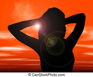 silhouette, ondergaande zon