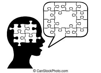 silhouette, onzeker, puzzelstukjes, persoon, toespraak, besprekingen, bel