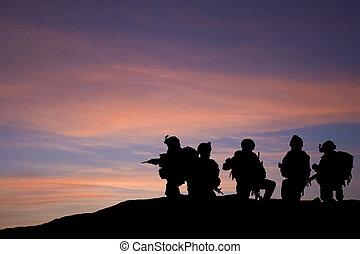 silhouette, oosten, middelbare , zijn, tegen, moderne, troepen