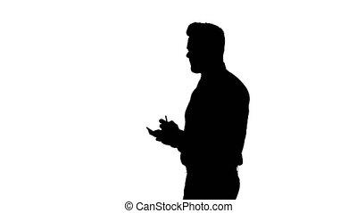 silhouette, opmerkingen., idee, zeker, zakenman, serieuze ,...