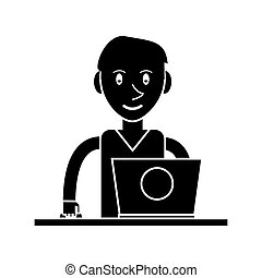 silhouette, ordinateur portable, jeune, bureau, utilisation, homme