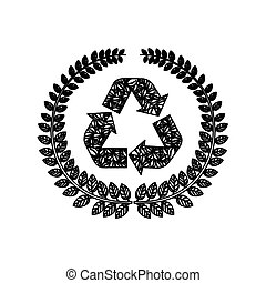 silhouette ornament leaves with recycled symbol