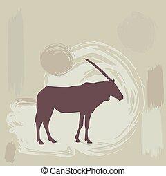 silhouette, oryx, fondo., vettore, africano, grunge, est